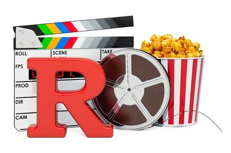 R – Restricted, film rating system concept. 3D rendering isolated on white background 스톡 콘텐츠