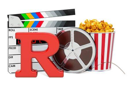R - 제한된 영화 등급 시스템 개념. 흰색 배경에 고립 된 3D 렌더링 스톡 콘텐츠