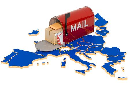 Mailbox on the European Union map. Delivery in the EU, concept. 3D rendering isolated on white background