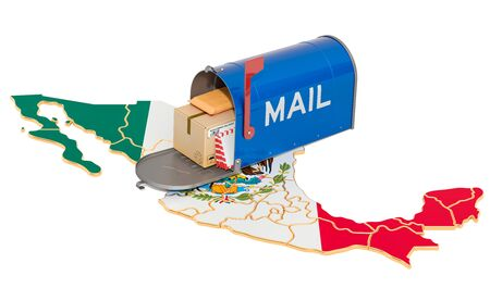 Mailbox on the Mexican map. Shipping in Mexico, concept. 3D rendering isolated on white background Archivio Fotografico