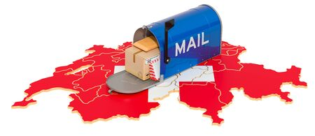 Mailbox on the Swiss map. Shipping in Switzerland, concept. 3D rendering isolated on white background Archivio Fotografico