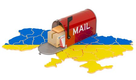 Mailbox on the Ukrainian map. Shipping in Ukraine, concept. 3D rendering isolated on white background Banco de Imagens