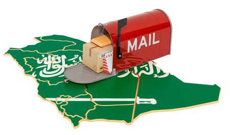 Mailbox on the map of Saudi Arabia. Shipping in Saudi Arabia, concept. 3D rendering isolated on white background