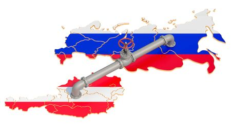 Russia-Austria gas pipeline, 3D rendering isolated on white background