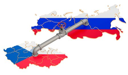 Russia-Czech Republic gas pipeline, 3D rendering isolated on white background