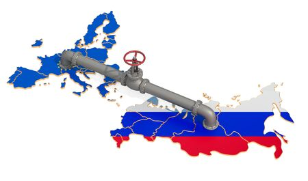 Russia-EU gas pipeline, 3D rendering isolated on white background