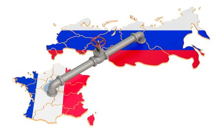 Russia-France gas pipeline, 3D rendering isolated on white background