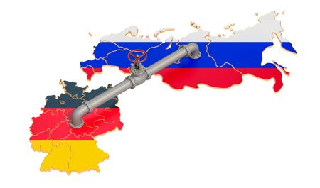 Russia-Germany gas pipeline, 3D rendering isolated on white background
