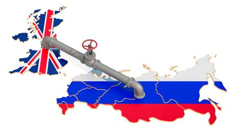 Russia-Great Britain gas pipeline, 3D rendering isolated on white background