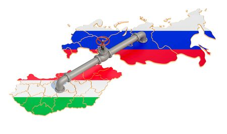 Russia-Hungary gas pipeline, 3D rendering isolated on white background