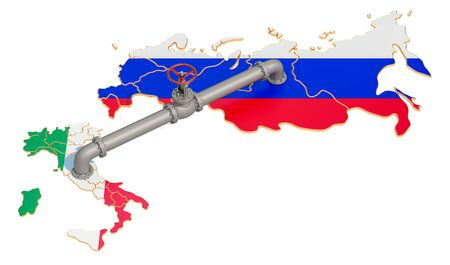 Russia-Italy gas pipeline, 3D rendering isolated on white background 版權商用圖片