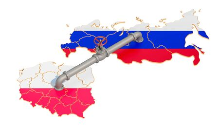 Russia-Poland gas pipeline, 3D rendering isolated on white background