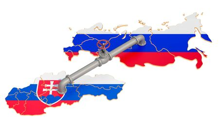 Russia-Slovakia gas pipeline, 3D rendering isolated on white background