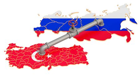Russia-Turkey gas pipeline, 3D rendering isolated on white background