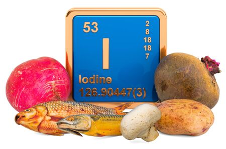 Foods Highest in Iodine, 3D rendering isolated on white background Banco de Imagens