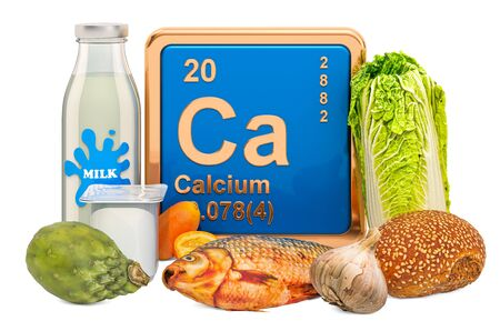 Foods Highest in Calcium, 3D rendering isolated on white background Stock fotó