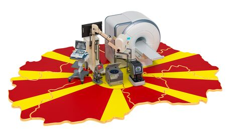 Medical diagnostic and research in Macedonia, 3D rendering isolated on white background