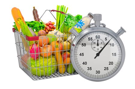 Shopping basket full of products with stopwatch, 3d rendering isolated on white background