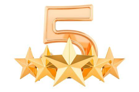 5 fünf goldene Sterne Konzept, 3D-Rendering auf weißem Hintergrund Standard-Bild
