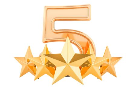 5 vijf gouden sterren concept, 3D-rendering geïsoleerd op een witte achtergrond Stockfoto