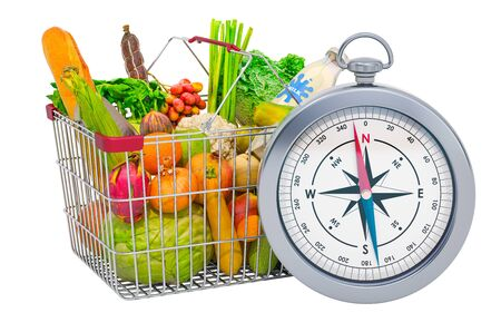 Shopping basket full of products with compass, 3D rendering isolated on white background
