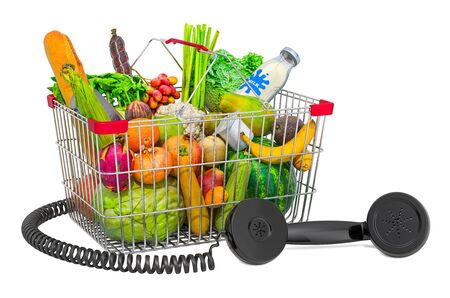 Shopping basket full of products with phone receiver, 3D rendering isolated on white background