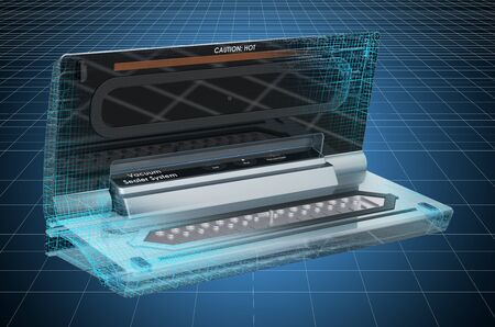 Visualization 3d cad model of food vacuum sealer, 3D rendering Фото со стока