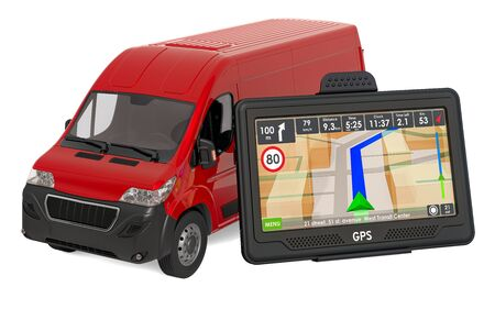 GPS navigation with delivery van, 3D rendering isolated on white background