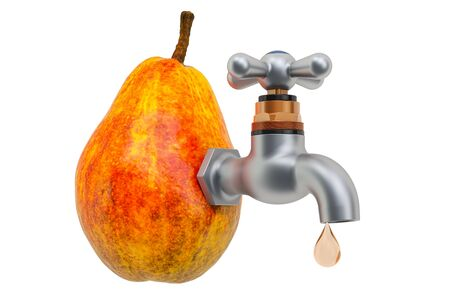 Pear juice. Pear with faucet, 3D rendering isolated on white background