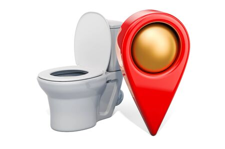 Map pointer with toilet. WC location concept, 3D rendering