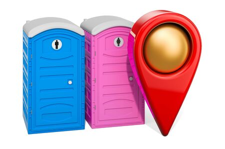 Map pointer with portable toilets. WC location concept, 3D rendering isolated on white background Reklamní fotografie