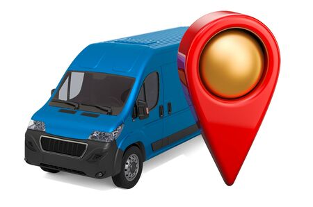 Map pointer with commercial van, 3D rendering isolated on white background
