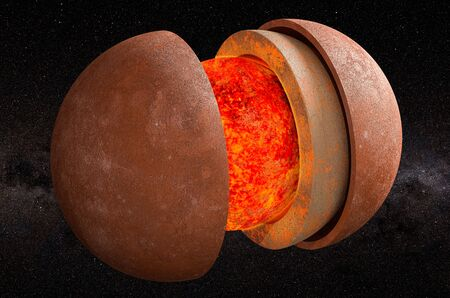 Structure of planet Mercury in space, 3D rendering