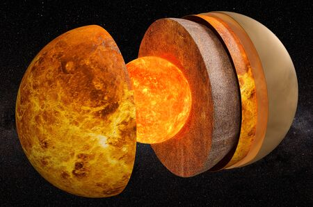 Structure of planet Venus in space, 3D rendering Фото со стока