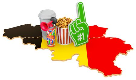 Sport fans in Belgium concept, 3D rendering isolated on white background