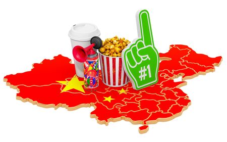 Sport fans in China concept, 3D rendering isolated on white background