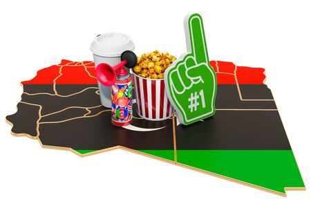 Sport fans in Libya concept, 3D rendering isolated on white background