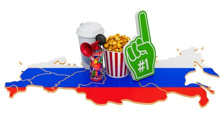 Sport fans in Russian Federation concept, 3D rendering isolated on white background 写真素材