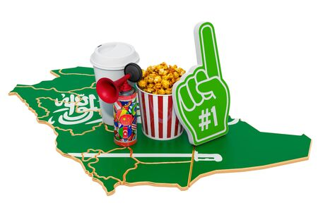 Sport fans in Saudi Arabia concept, 3D rendering isolated on white background 写真素材