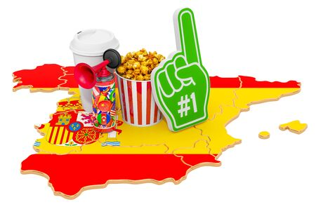 Sport fans in Spain concept, 3D rendering isolated on white background
