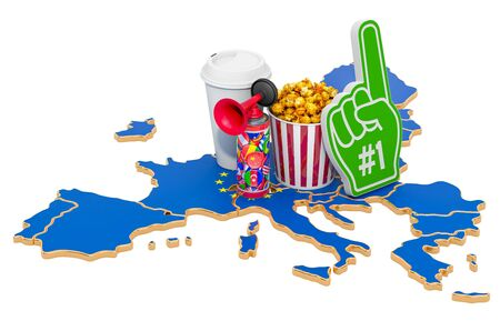 Sport fans in the European Union concept, 3D rendering isolated on white background 写真素材