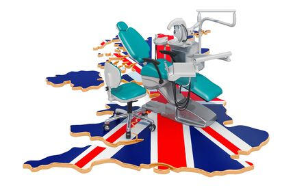 Dentistry in the United Kingdom concept, 3D rendering isolated on white background