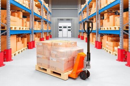Pallet truck with cardboard boxes in warehouse, 3D rendering