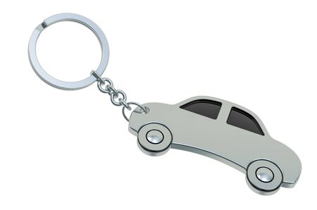 Car Keychain, 3D rendering isolated on white background Foto de archivo
