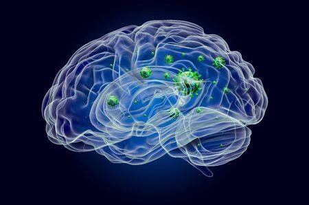 Hersenen met virus, spooklichteffect, röntgenhologram. 3D-weergave op donkerblauwe achtergrond Stockfoto