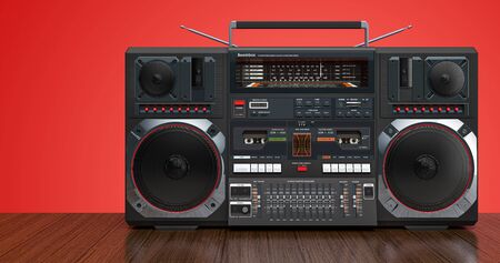 Boombox on wooden background. 3D rendering Archivio Fotografico