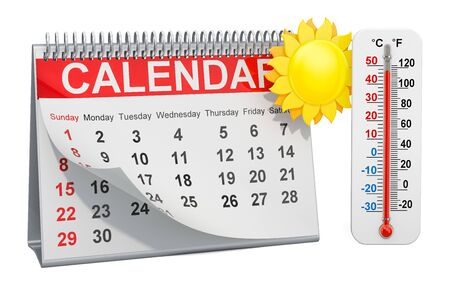 Desk calendar with sun and thermometer, summer season concept. 3D rendering isolated on white background Stock Photo