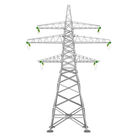Transmission tower, power tower. 3D rendering isolated on white background