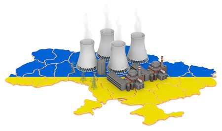 Nuclear power stations in Ukraine, 3D rendering isolated on white background