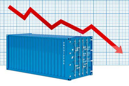 Cargo container with downing chart. 3D rendering Archivio Fotografico